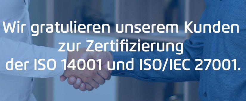 Wir gratulieren unserem Kunden, macle GmbH, zur Zertifizierung der ISO 14001 und ISO/IEC 27001.